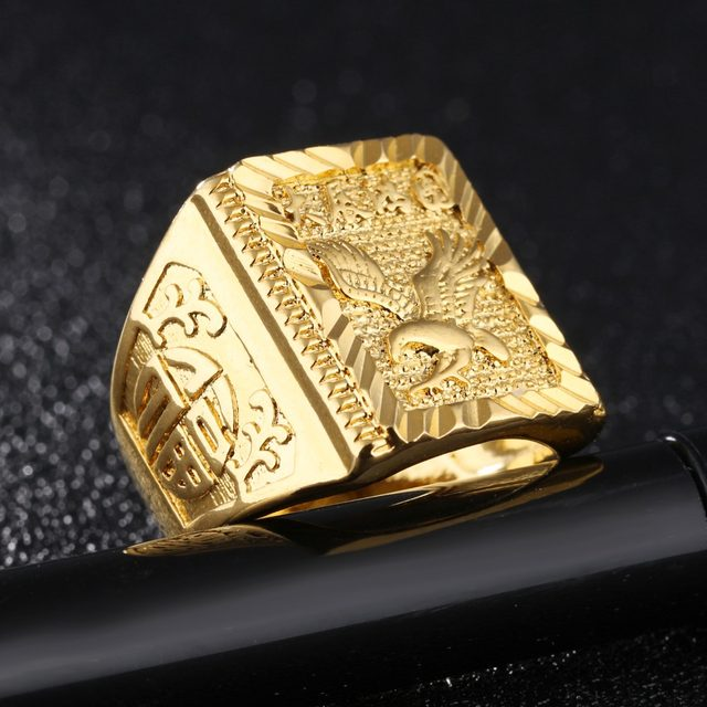 line Shop Fate Love New Arrival Eagle Pattern Copper Gold Rings