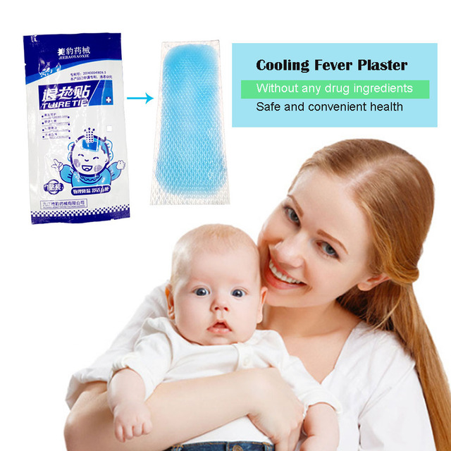 5pcs/lot Chinese Cooling Fever Plaster For Children Baby Temperature Ice Instant Cooling Gel Patch Body Massager baby plaster