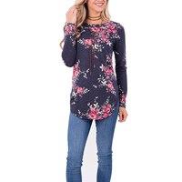 Long Sleeve T Shirt Women O Neck Flower Print Casual Tee Shirt Slim Female Tshirt Fashion