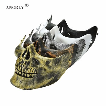 ANGRLY Costume Halloween Airsoft Skull Motorcycle Skull Skeleton Airsoft Hunting Biker Ski Half Face Protect Gear Mask Guard