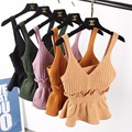 Spring Summer Women Fashion Slim Knitting Camisole Tops Female Bodycon Knitted Tanks Vests Sleeveless Short T shirts  602