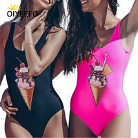 Oiyeefo Black Pink Cute Ice Cream Print Swimsuit One Piece Bathing Suits Women 2018 Swimwear Female