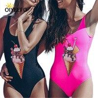 Oiyeefo Siyah Pembe Sevimli Dondurma Baskı Mayo One Piece Mayo Kadınlar 2018 Mayo Kadın Yüzmek Takım Plavky Plaj olabilir