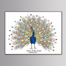 Custom Name Date Book Personalize Wedding Gifts for Guest Peacock Fingerprint Tree Painting Party Decorations livre dor mariage