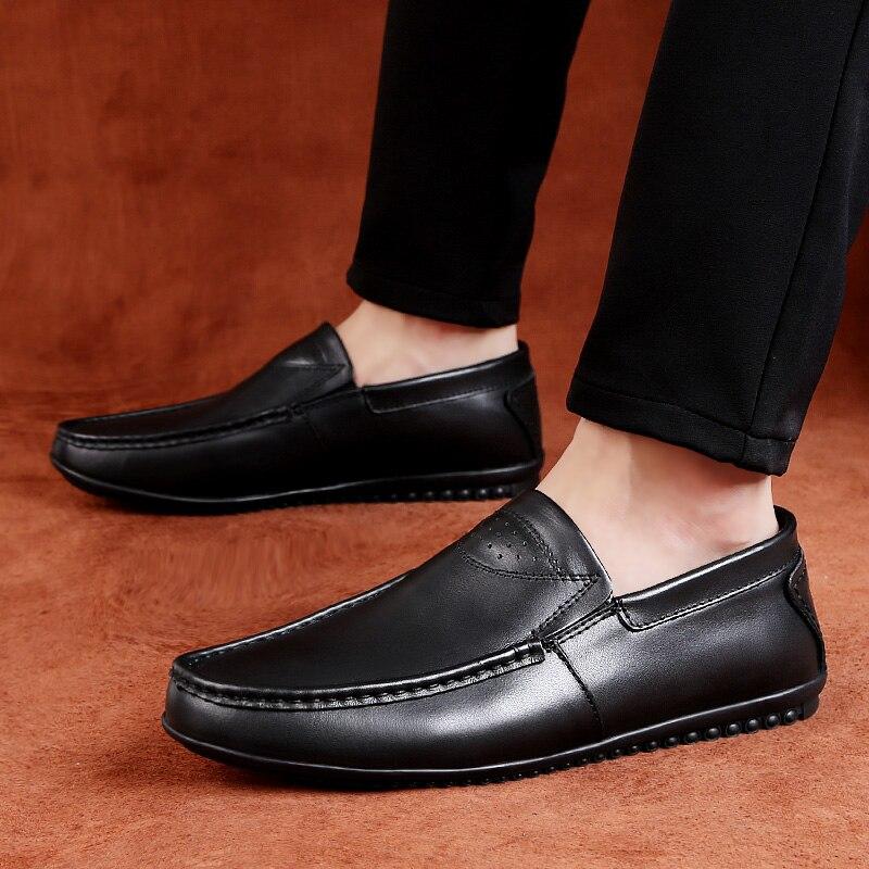 2019 pattini di vestito degli uomini del cuoio genuino della mucca slip on mocassini taglia 36 44 scarpe uomo formale ufficio scarpe per gli uomini classic black & brown-in Scarpe da cerimonia da Scarpe su  Gruppo 2