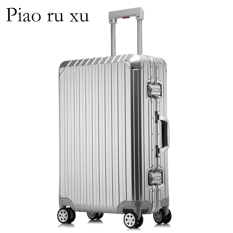 100% pure Aluminum Alloy pull rod suitcase 20/25/29 inch metal luggage fashionable new type of suitcase luggage pull rod box new design professional universal wheel rod makeup box men and women pull rod