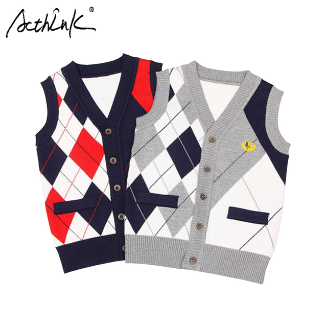 a89bff4987e7 ActhInK New Design Boys Vest Cardigan Sweater England Style Baby ...