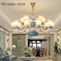 French luxury ceramic chandelier living room dining room simple modern European Blue Crystal Chandelier free shipping