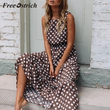 Free Ostrich 2019 Women Sexy Dot Printing Sleeveless O Neck Long Dress Evening Party Dress Sumeer High Quality Materials cheap Polyester A-Line Summer O-Neck Tank NONE Sexy Club Natural Ankle-Length Casual Long Dress Sexy Fashion Womens Elegant lightweight Dress