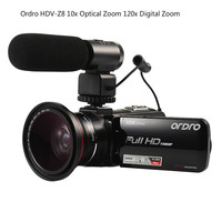 ORDRO HDV Z82 3.0 Inch TFT LCD Touch Screen 1080P HD Camcorder Hot Shoe 24MP 10X Anti shake CMOS Optical Zoom Camera