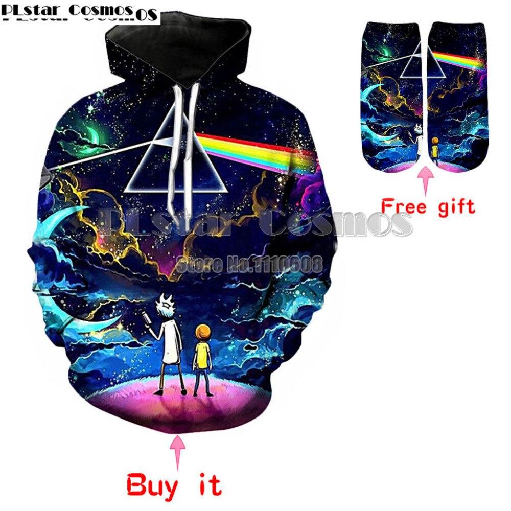 Erkek Kıyafeti'ten Kapşonlu ve Kapşonsuz Svetşörtler'de PLstar Cosmos Rick ve Morty moda marka yeni popüler tarzı Kapüşonlu sweatshirt erkekler/kadın tişörtü Karnaval title=