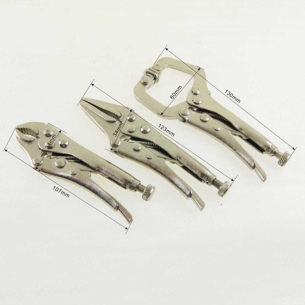 3pcs Mini Locking Grip Pliers Set Vise Long Nose Jaws Clamp Welding