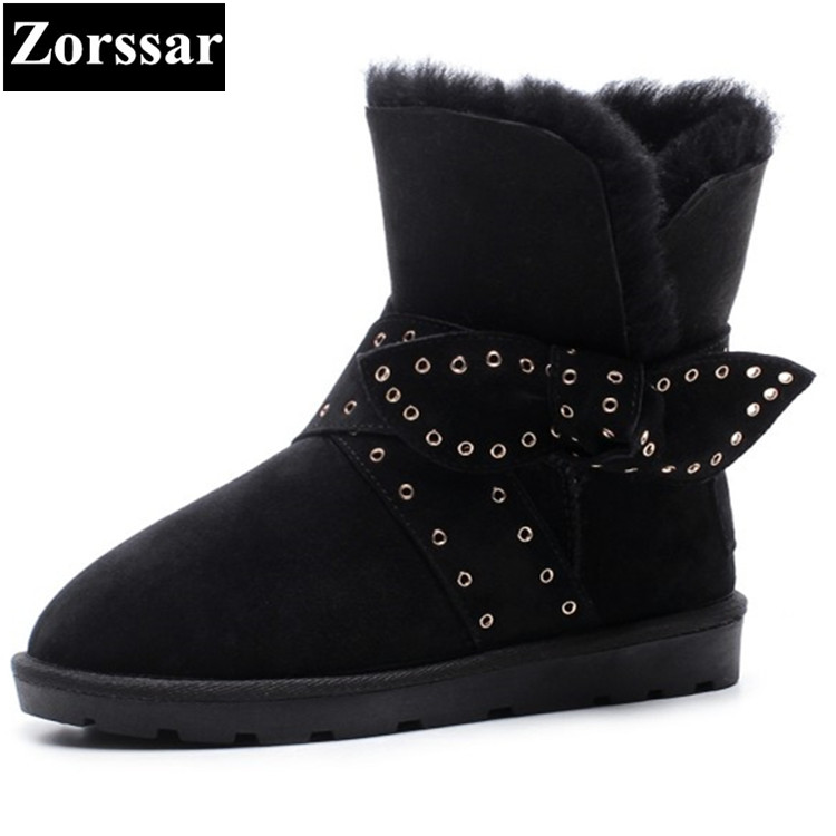 {Zorssar} 2017 NEW winter warm plush Womens Boots cow suede flat heel ankle snow Boots fashion butterfly-knot flats women shoes zorssar 2017 new classic winter plush women boots suede ankle snow boots female warm fur women shoes wedges platform boots