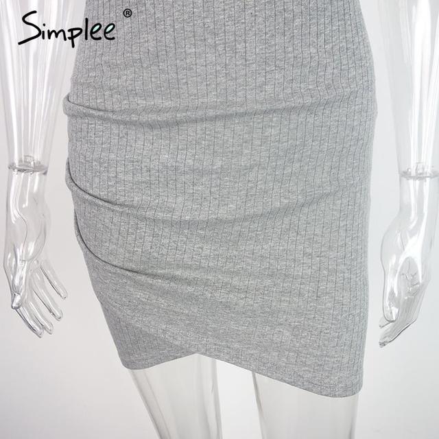 Simplee Apparel Elegant gray sleeveless knitted casual dress Women evening party sexy bodycon dress Girls Spring short vestidos