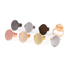 7 Warna Dalam 13X18 Mm/18X25 Mm Adjustable Oval Cincin Pad Datar Bezel Hiasan Cabochon basis Pengaturan Kosong(China)