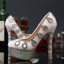 2015 neue Ankunft Strass Perlen Braut Hochzeit Schuhe Diamant Bling Frauen Plattform High Heels Sexy Abend Kleid Pumpen