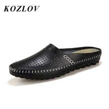 7cdb326aa01 KOZLOV Ademend Hollow Casual Schoenen Mannen Loafers Lederen Italiaanse  Zomer Half Schoenen Mannen Slip Op Water Schoenen Luxe M..