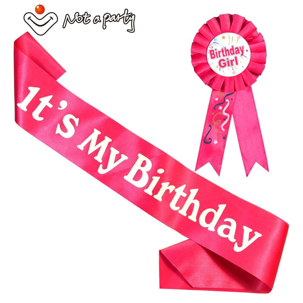 Happy birthday fun gift Birthday girl & boy brooch sash set pink women blue men ribbonbadge 18 21 adult event party supplies