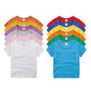 Chłopcy dziewczęta koszulki z krótkim rękawem ubrania dla dzieci bawełna casual topy koszulki odzież chłopcy dziewczęta jednolite koszulki topy odzież 7060 07 tanie i dobre opinie Tees Aktywny COTTON Unisex Stałe REGULAR O-neck VIDMID Pasuje prawda na wymiar weź swój normalny rozmiar