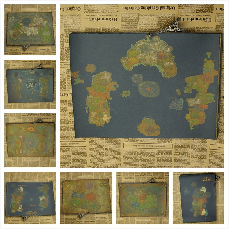 Vintage Classic Game World of War.craft WOW Azeroth Pandaria Maps ...