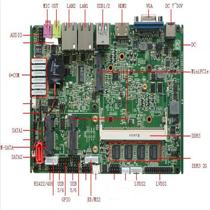 3.5 inch embedded with 2*SATA 6*COM 6USB x86 industrial mini itx motherboard with Intel Atom N2800 1.86GHz m945m2 945gm 479 motherboard 4com serial board cm1 2 g mini itx industrial motherboard 100