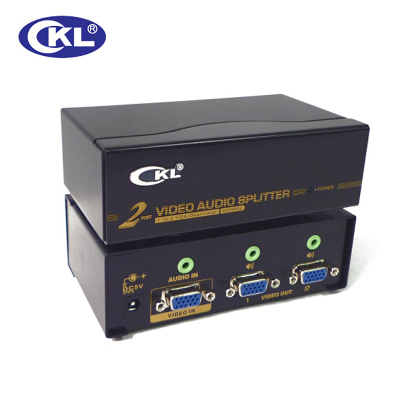 CKL-102S 2Port VGA SPLITTER With Audio Metal Case Supports 450Mhz 2048*1536