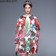 Luxury Embroidery Jacket 2017 Autumn Winter Fashion Runway Designer Women Flower Appliques Loose Pockets Basic Coat Outwear