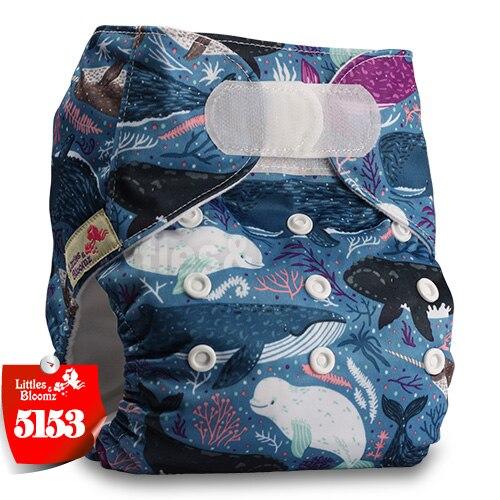 [Littles&Bloomz] Один размер многоразовые тканевые подгузники Моющиеся Водонепроницаемые Детские карманные подгузники стандартная застежка на липучке - Цвет: 5153