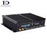 2017 Горячая Безвентиляторный Barebone промышленный компьютер Intel i5 3317U Celeron 1037U двухъядерный мини настольных Dual LAN 4 * RS232 HDMI VGA