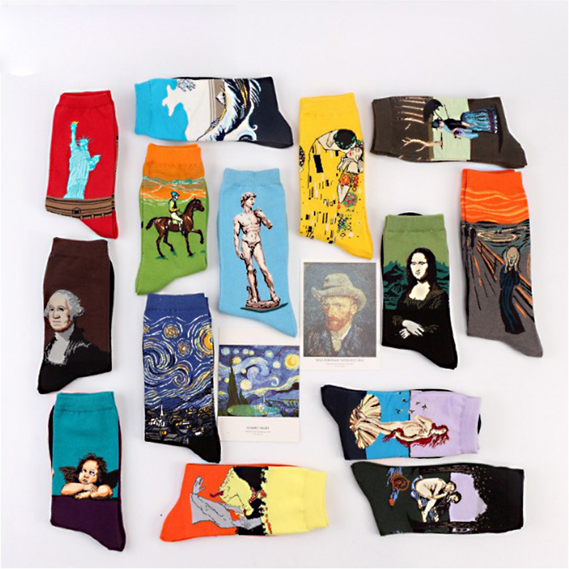 Fashion 19 Patterns Cotton Famous Painting Printed Character Harajuku Design Women Men Art Socks Clothing Accessories