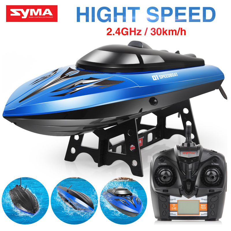 Official SYMA RC Boat High Speed Q1 Q3 2.4GHz 30km/h with Capsize Reset Function Fast Remote Control Boat Toys Kids Gift
