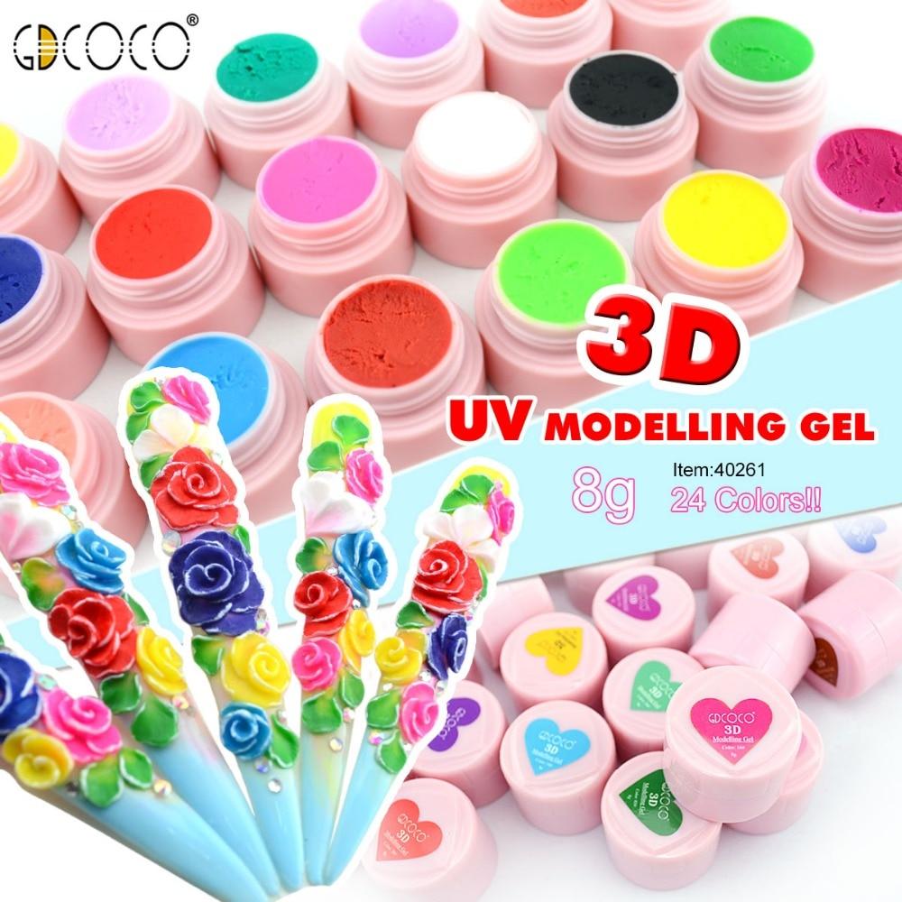#40261 Gdcoco 24 Colors A Set 3d Modelling Gel 8ml Diy Painting Flower Gel Kit Soak Off Canni Led/uv Gel Kit Rich In Poetic And Pictorial Splendor Nails Art & Tools