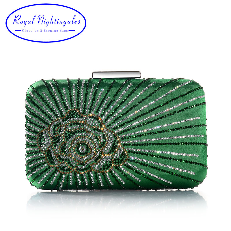 Hot New Dark Green/Purple Large Crystal Satin Silk Box Clutch And Evening Bags With Flowers For Womens Party Wedding Prom Dress