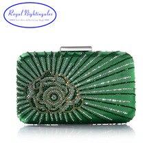 Hot New ciemny zielony/fioletowy duży kryształ Satin Silk pudełko sprzęgła i torebki wieczorowe z kwiatami dla kobiet Party suknia na ślub i bal