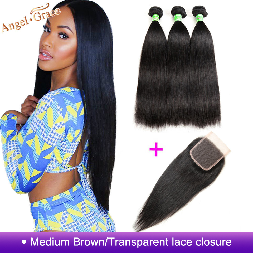 Brazilian Straight Hair Bundles With Closure Angel Grace Hair Weave Bundles With Closure Remy Human Hair