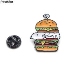 Patchfan cartoon Hamburger dog Zinc tie pins badges para shirt bag clothes cap backpack shoes brooches medal A1913