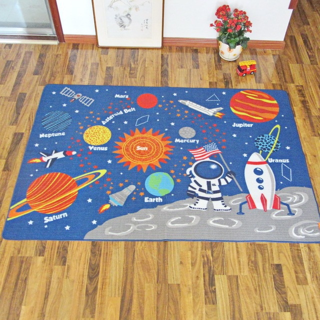 Ins Play Mat Children Space Planet Carpets Bedroom Rugs Baby Blankets Nylon  Boys And Girls Crawling