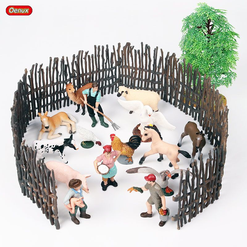 Oenux Farm Model Simulation Farmer Feedding Duck Pig Cows Hen Action Figures Poultry Animals Figurine Miniature Lovely Kids Toy