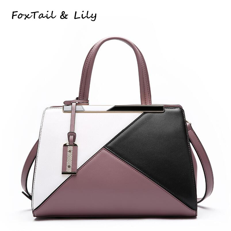 FoxTail & Lily Brand Women Genuine Leather Patchwork Handbags Fashion Lady Panelled Shoulder Bag Famous Designer Crossbody Bags genuine leather women striped handbags patchwork lady shoulder crossbody bag brand design colorful stripe sling bag random color