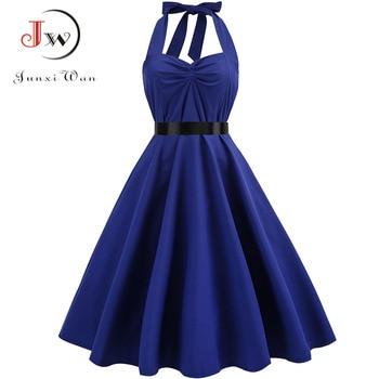 Sexy Halter Party Dress 2018 Retro Polka Dot Hepburn Vintage 50s 60s Pin Up Rockabilly Dresses Robe Plus Size Elegant Midi Dress 5