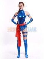 Blue Shiny Female Psylocke Ninja Suits Cosplay X Men Halloween Superhero Costumes For Women Men Kids