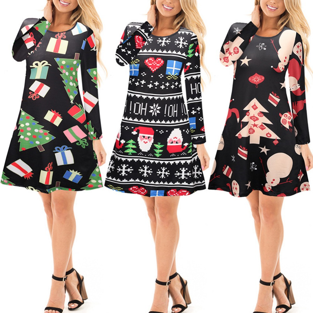 New Autumn Women's Casual Christmas Dress O-Neck Long Sleeve Colorful Christmas Print Slim Elegant Christmas Party Dress