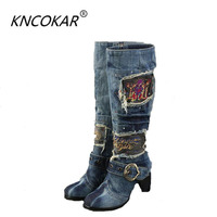 the new canvas shoes high heel side zippers high boots denim wash water thick with antiskid Martin boots