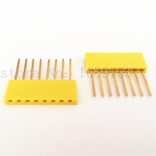 100pcs Yellow 2.54mm 8P Stackable Long Legs Female Header For Arduino Shield