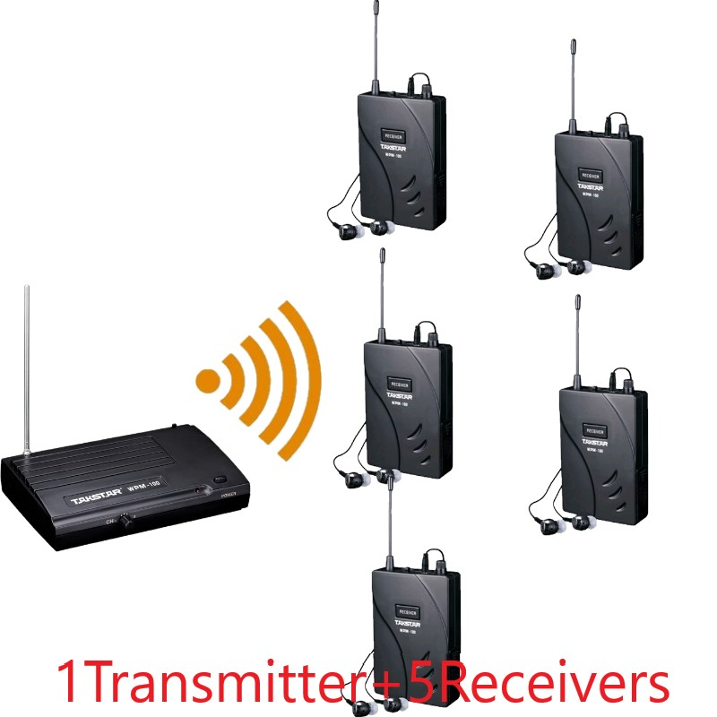 Takstar wpm 100 wpm100 wireless monitor system In Ear earphone for stage performance 1 Transmitter 5