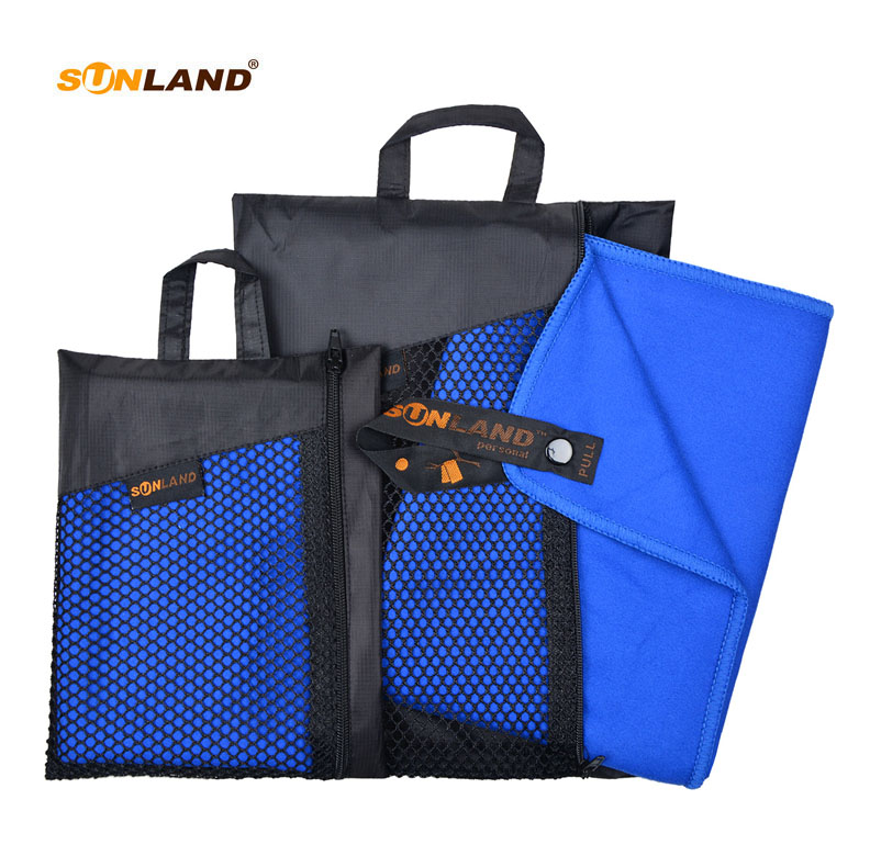 Sunland 2PCS 102cmx183cm Microfiber Fast Drying Travel Sports Camping Swimming Beach Towel Large With Carrying Bag
