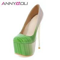 ANNYMOLI Women Pumps Extreme High Heels Platform Women Shoes 16 cm Heel Shallow Stiletto Sexy Ladies Party Shoes Plus Size 33 46