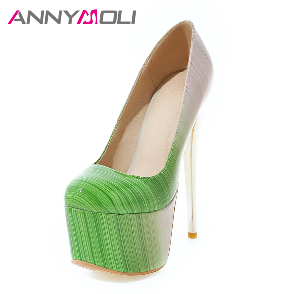 ANNYMOLI Women Pumps Extreme <font><b>High</b></font> <font><b>Heels</b></font> Platform Women Shoes 16 <font><b>cm</b></font> <font><b>Heel</b></font> Shallow Stiletto Sexy Ladies Party Shoes Plus Size 33-46 image