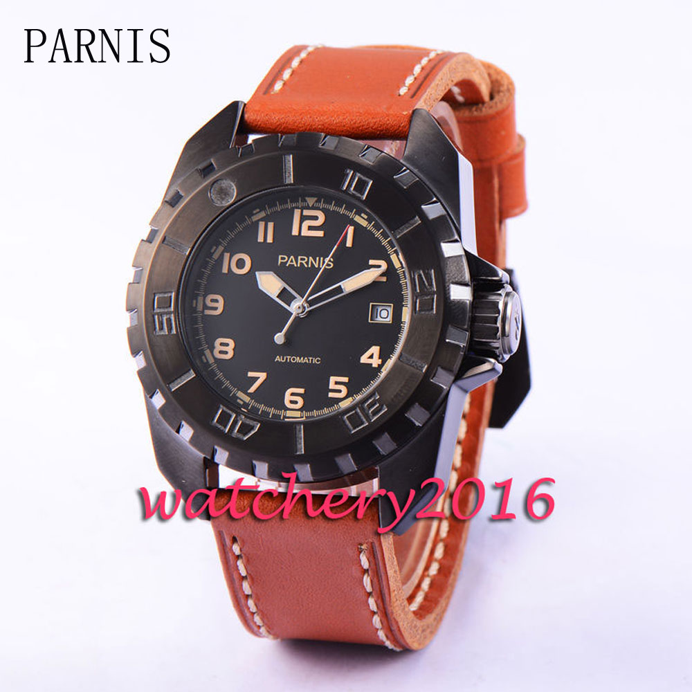 Parnis 45mm black dial PVD mens watches top brand luxury automatic mechanical date adjust miyota automatic movement Men's Watch automatic spanish snacks automatic latin fruit machines
