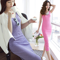 2016 Summer New Arrival Women Tank Dress Female Tight Slim Sleeveless Solid One-piece Long Dress Cotton XS-2XL